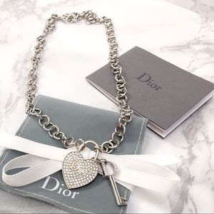 Dior heart and key necklace
